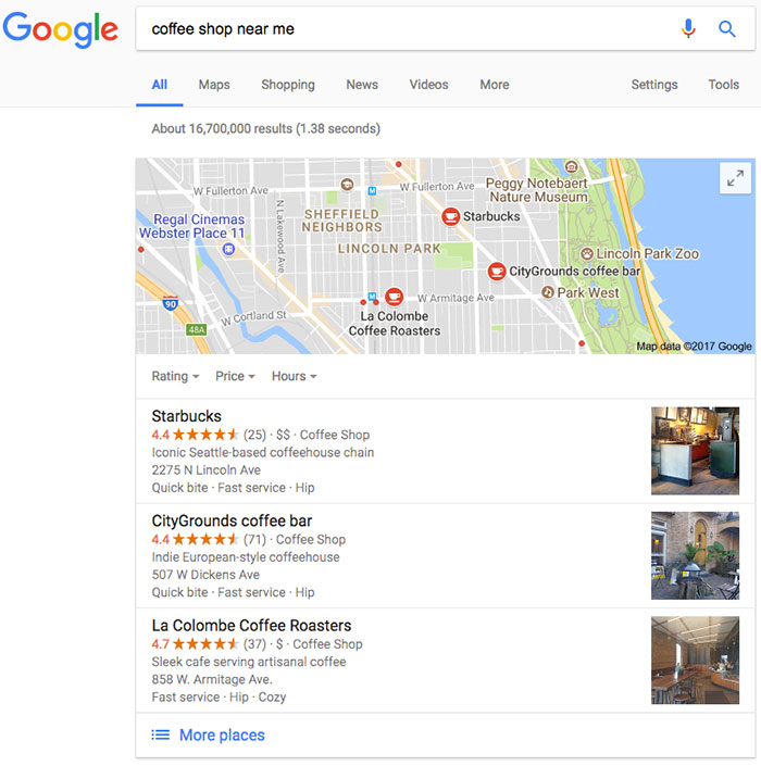 google my business search results