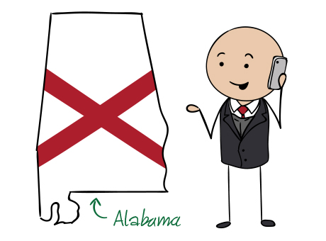 Alabama phone number map