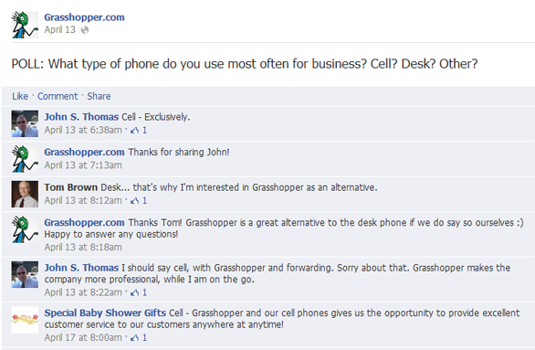 Cell Phone vs Landline Facebook Poll from Grasshopper
