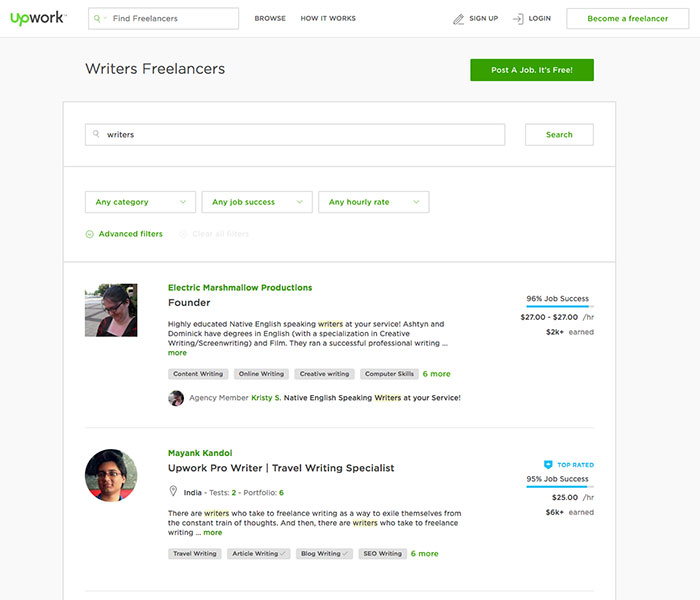 upwork freelance writers