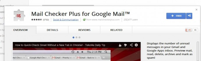 Google Chrome Mail Checker Plus for Google Mail Extension