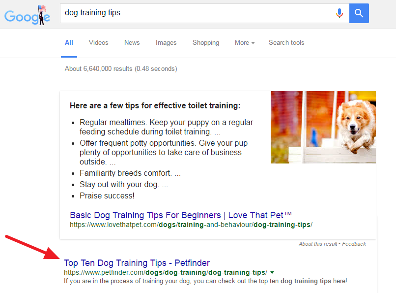 Dog Training Tips Search Query
