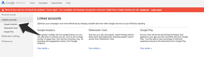 Syncing google adwords step2