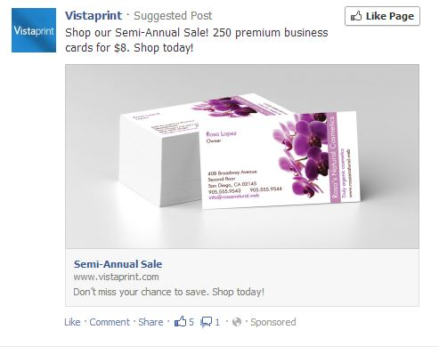 Vistaprint re-targeting me on Facebook