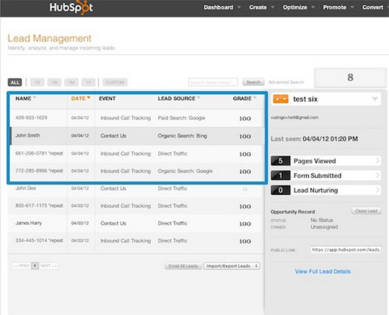 Hubspot lead management