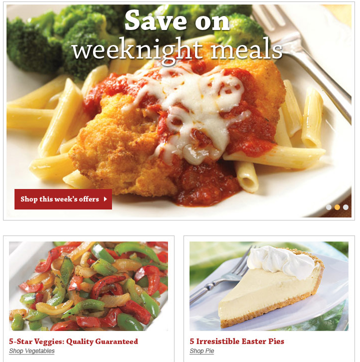 Schwans Food Deliver is an example of a beautiful home page that shows what it offers, in tempting, tantalizing photos