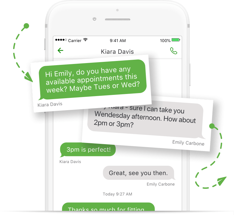 Texting on the Grasshopper mobile app.