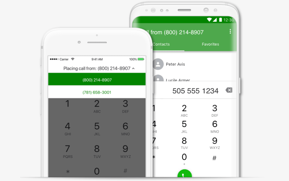Placing a call in the Grasshopper mobile app.