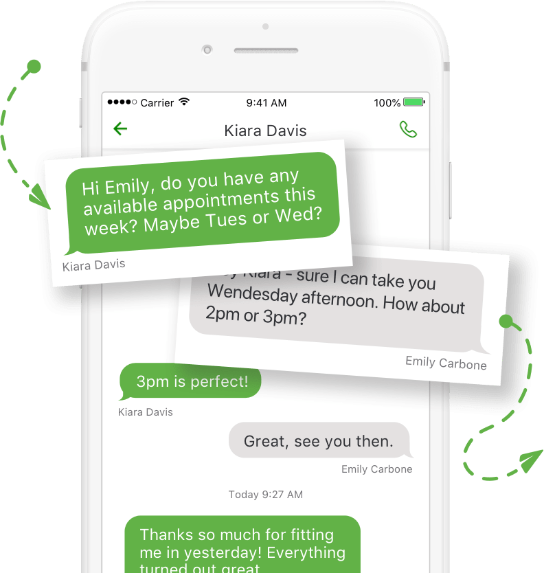 Sending text messages on the Grasshopper mobile app.
