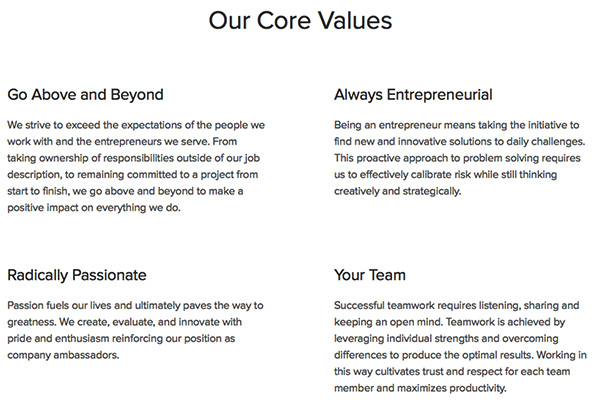 Grasshopper Core Values