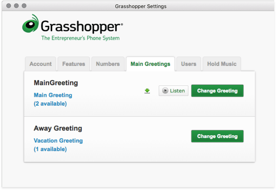 Customize your business phone greetings with grasshopper screenshot greetings min png m4hsunfo