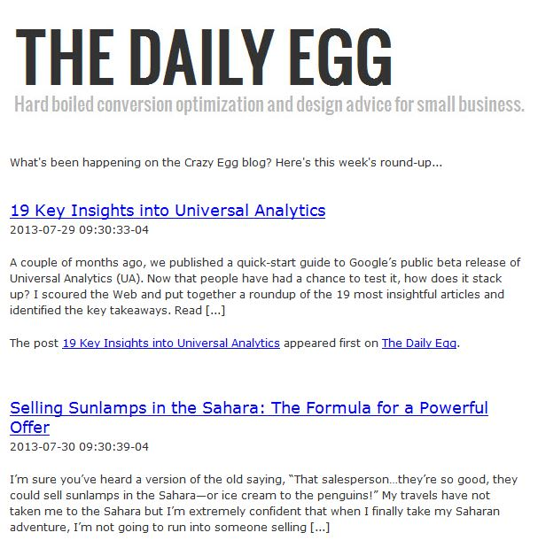What You Can Learn From Crazy Eggu0027s Newsletter:  Example Of A News Letter