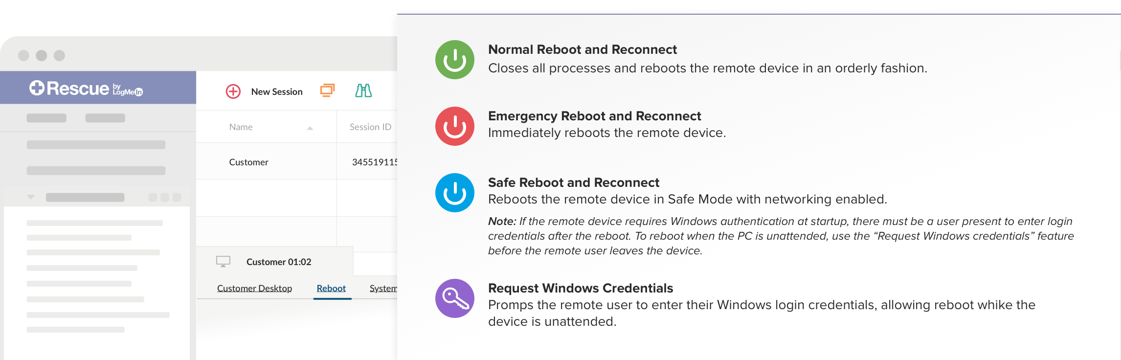 Reboot and reconnect options for remote support session